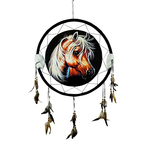 """HORSE HEAD Dream Catcher 24"""" x 42"""" Natural Wall Hanging with Beads, Feathers, Hanging Nail and Descriptive Card Bundle by Imprints Plus (1012) by Imprints Plus"""
