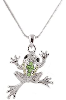 Amazon sterling silver genuine peridot frog pendant necklace silvertone with green iced out frog pendant with an 18 inch snake franco chain necklace mozeypictures Image collections