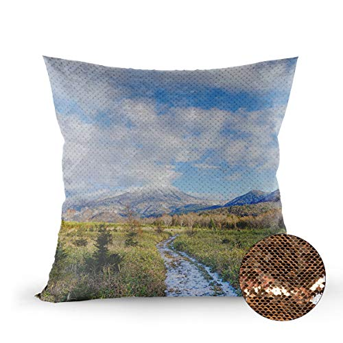 (Reversible Sequin Pillow Case Decorative Hokkaido Natural Alpine Landscape Wallpaper Double-Sided Mermaid Pillow Cover Color Changing Cushion Throw Pillowcase, 20