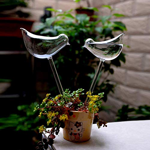 (2pcs Bird Shape Hand Blown Clear Glass Self Watering Durable Mini Transparent Bird Shape Plant Watering-Siyaglass)