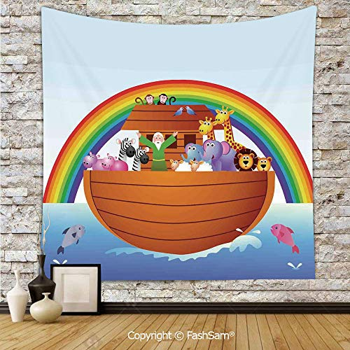 FashSam Tapestry Wall Hanging Noah Ark and Colorful Sky Every Kind of Creature Sailing Artful Design Print Tapestries Dorm Living Room Bedroom(W59xL78)