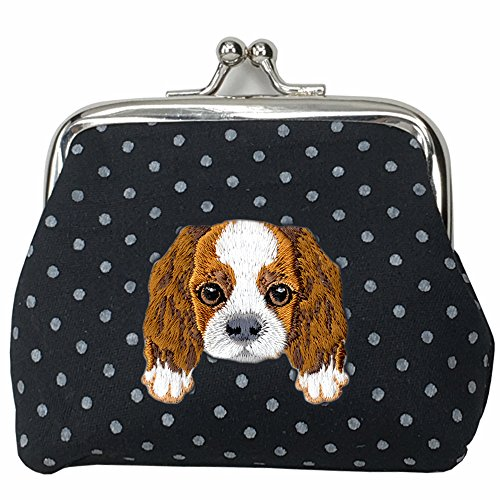 [ CAVALIER KING CHARLES SPANIEL ] Cute Embroidered Puppy Dog Buckle Coin Purse Wallet [ Black Polka Dots ]