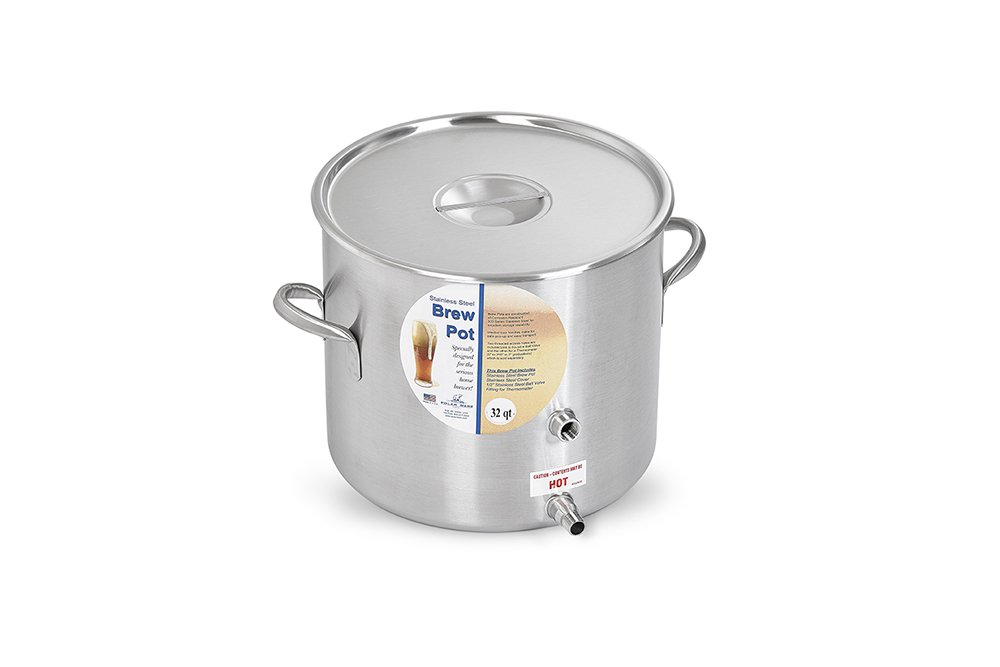 Polar Ware Stainless Steel Brew Pot with Cover 32-Quart Ball Valve and Hex Plug