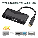 Euone  Valentine Clearance Sale , Type-C To HDMI VGA 3.5mm Audio Adapter 3 in 1 USB-C Converter Cable for Macbook