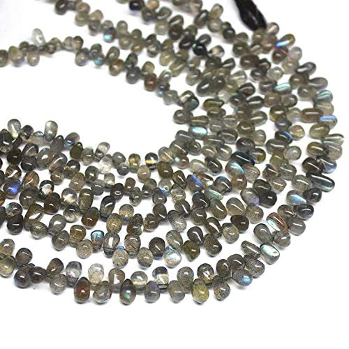 Beads Bazar Natural Beautiful jewellery Natural Labradorite Smooth Tear Drop Briolette Gemstone Craft Loose Beads Strand 9