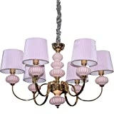 Florenza home decoration pink fabric shade E14 iron gold color chandelier