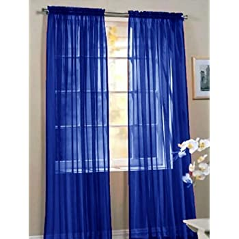 Elegant Comfort 2 Piece Solid Sheer 60 X 84 Window Curtains Drape