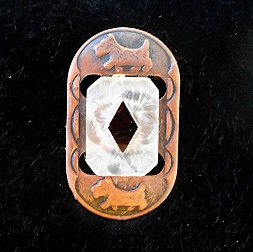 Marquis Diamond Pendant - Lovely Art Deco Copper Scotty Dog Buckle with Camphor Glass Diamond Marquis Black Glass Focal Brooch/ Pendant.