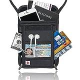 AIKELIDA RFID Blocking Passport Holder Neck Stash Pouch Security Travel Wallet - Black