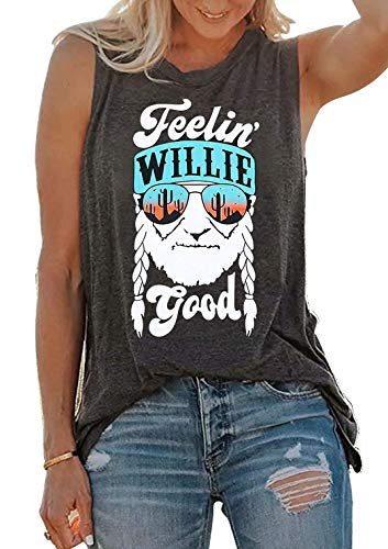 SUNFLYLIG Feelin' Willie Good Letters Graphic Tank Tops for Women Cactus Print Sleeveless T Shirt Muscle Workout Blouse Vest (Medium, Grey) ()
