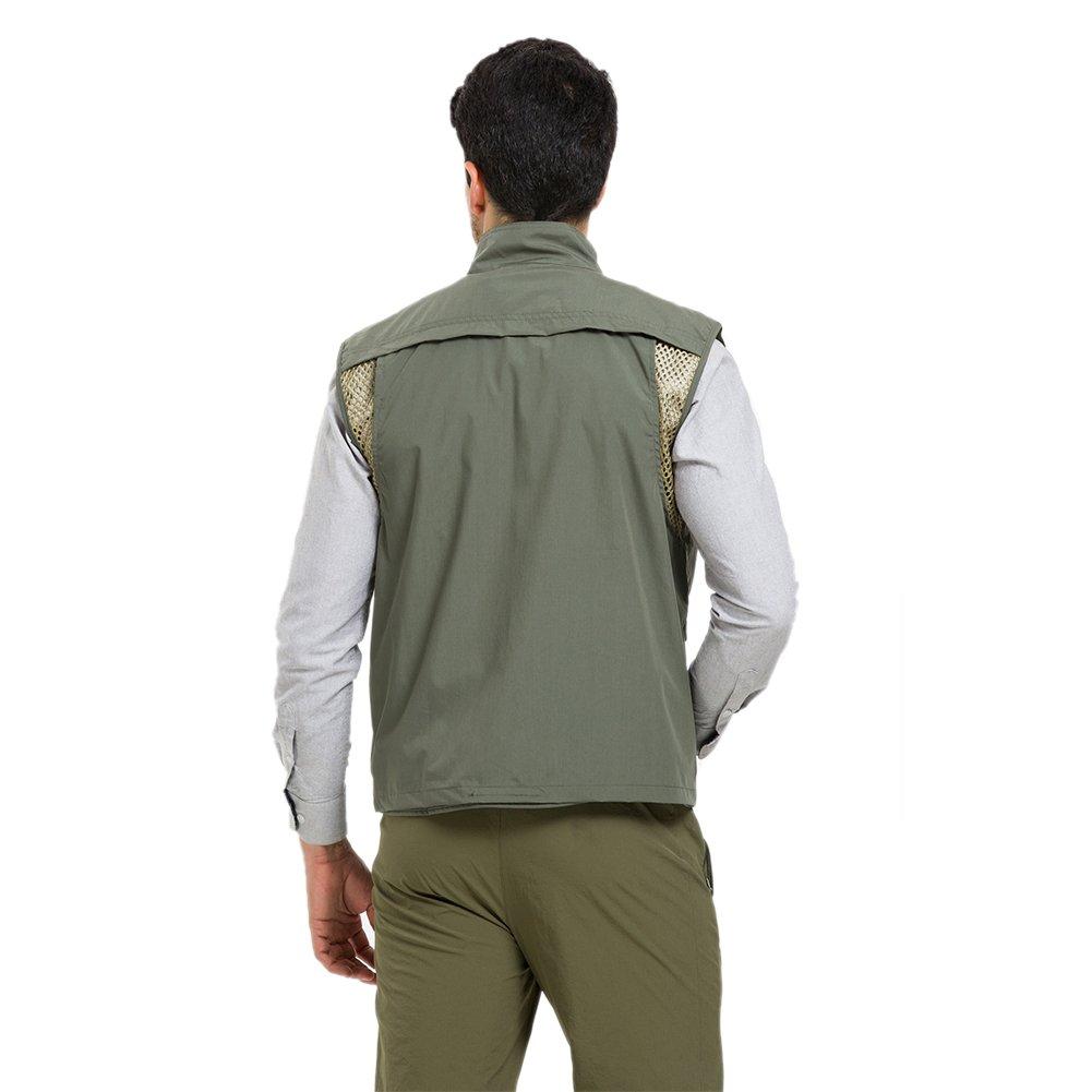 LANBAOSI Mens Multi Pockets Mesh Lining Vest Comfortable Hiking Fishing Tops