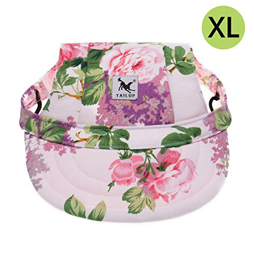 Cotton Dog Visor - Tuochen Dog Hat, Adjustable Pet Dog Baseball Cap, Visor Design Dog Sport Hat with Ear Holes, Sun Protection Dog Cap, Size XL, Flower Pattern