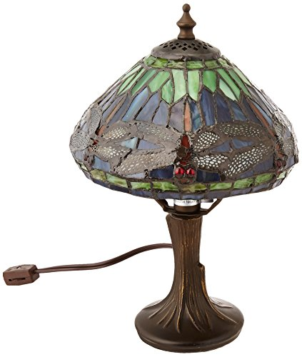 Dale Tiffany 7601/521 Dragonfly Table Lamp, Antique Brass and Art Glass Shade ()