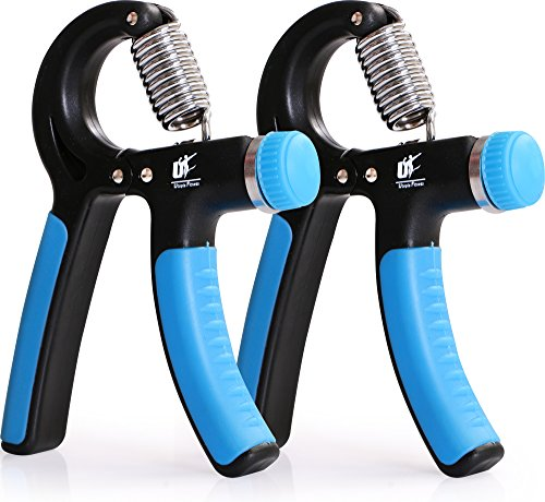 Fitness Adjustable Hand Grip Strengthener Pack of 2 Stainless Steel Tension Springs Non Slip Handles by Utopia Fitness
