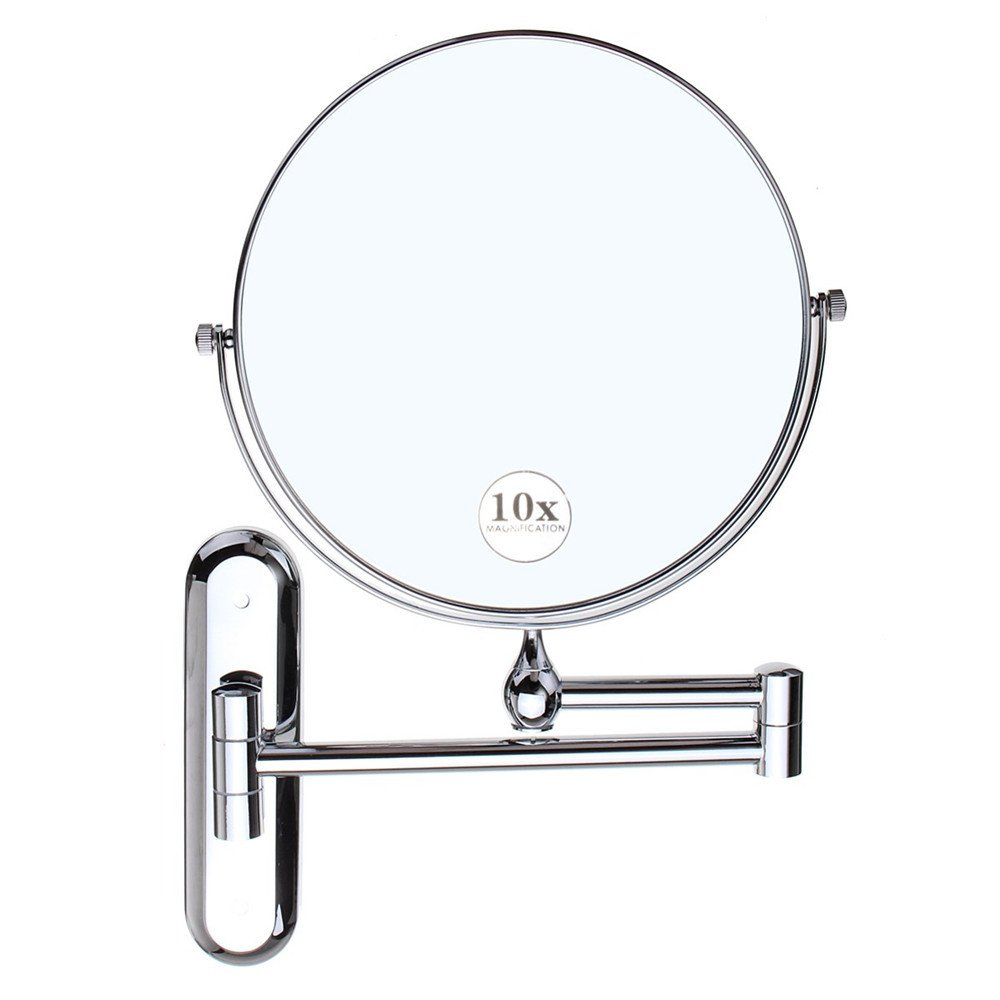 GF Wood Cosmetic Double-Sided 10X Magnifying Mirrors Chrome Round 8'' Wall Mirror Foldable Vanity Mounted Bathroom Toilet Mirror Shaving by GF Wood (Image #2)