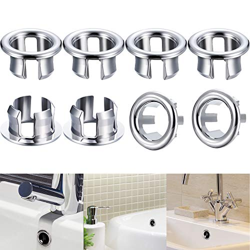 Zhehao 8 Pieces Sink Overflow Ring, Kitchen Bathroom Basin Trim Bath Sink Hole Round Overflow Drain Cap Cover Insert in Hole Spares