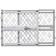"North States Mypet Paws 42"" Portable Pet Gate: Expands & Locks In Place with No Tools. Pressure Mount. Fits 26""-42"" Wide (23"" Tall, Light Gray)"