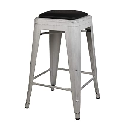 Incredible Gia 24 Inch Backless Stool With Faux Leather Seat Antique White Black 2 Pack Machost Co Dining Chair Design Ideas Machostcouk