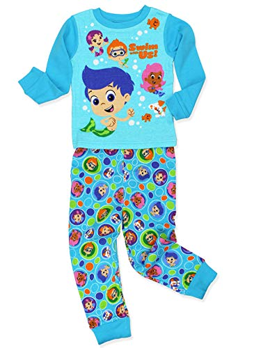 Bubble Guppies Toddler Boy's Girl's 2 Piece Long Sleeve Cotton Pajamas Set (4T, Blue)