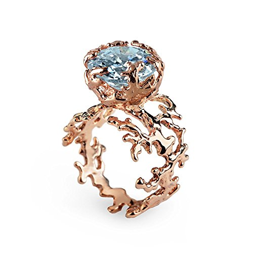 18k Rose Gold Plated Sterling Silver, Genuine Sky Blue Topaz, Organic Engagement Coral Ring, Sizes 4 to 13 (Ring Topaz Engagement Genuine)