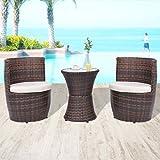 Festnight 3 Piece Outdoor Patio Wicker Bistro Set Garden Furniture Poly Rattan