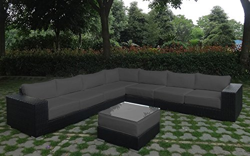 Rattan lounge schwarz grau  Amazon.de: Baidani Garten Lounge Garnitur Flachrattan, Challenge ...