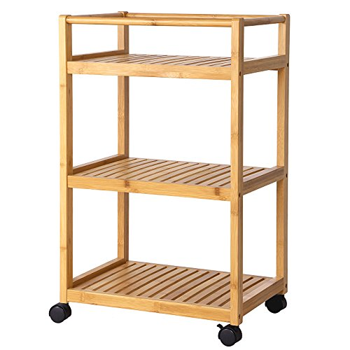 SONGMICS Kitchen Storage Cart, Serving Bar Cart,Utility Trolley Organizer Rack with 3 Shelves and Locking Wheels Bamboo Wood UBCB63N (Bar With Storage Cart)