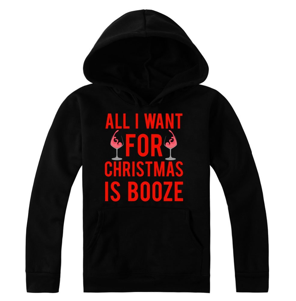 idcommerce All I Want for Christmas is Booze Two Wine Glasses Design Women's Hoodie Pullover Extra Large