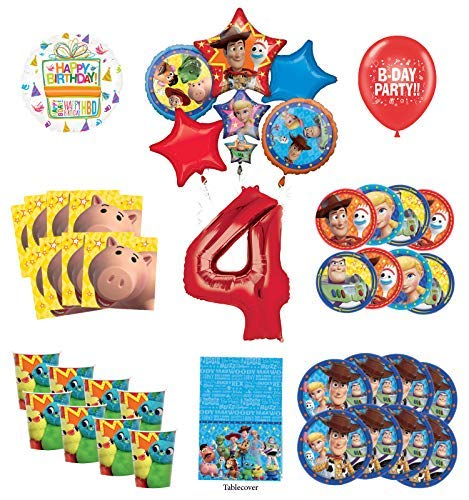 Toy Story 4th Birthday Party Supplies 8 Guest Decoration Kit with Woody, Buzz Lightyear and Friends Balloon -