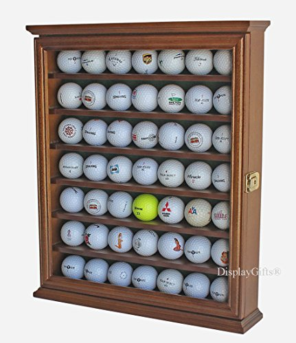 49 Golf Ball Display Case Cabinet Holder Rack w/Lockable, (Golf Memorabilia Shadow Box)