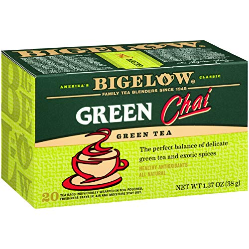 Bigelow Green Tea Chai 20-Count Boxes (Pack of 6), 120 Tea Bags Total.  Caffeinated Individual Green Tea Bags, for Hot Tea or Iced Tea, Drink Plain or Sweetened with Honey or Sugar