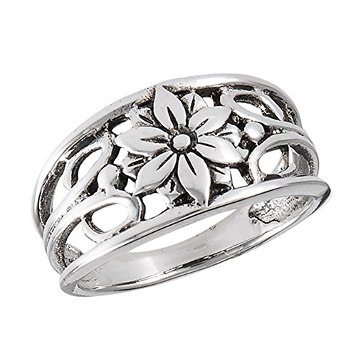 ower Daisy Leaf Ring New 925 Sterling Silver Band Size 8 ()