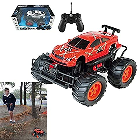 Remote Controlled Toy Truck, 4 Channels - Battery Operated RC Car that Moves In all 4 Directions With 50 Meter Range - By Dazzling - Red Monster Truck
