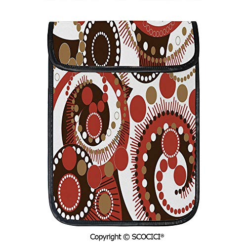 - SCOCICI Protective Storage Carrying Sleeve Case - Retro Colors Abstract Spiral Dots and Lines Modern Waves Artwork Decorative Compatible with 12.9 Inch iPad Pro Tablet
