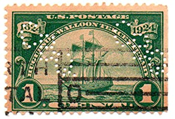 US Postage Stamp 1924 With Perfins Ship New Netherlands Issue 1 Cent Scott 614