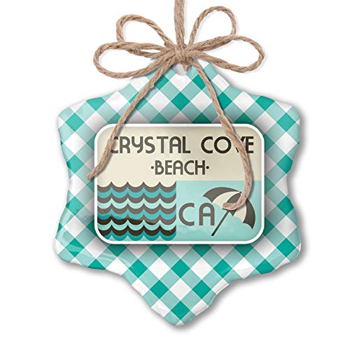 NEONBLOND Christmas Ornament US Beaches Vacation Crystal Cove Beach Pastel Mint Green Plaid