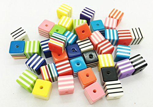- 40pcs 8mm Striped Rainbow Cube Square Resin Flat Back Cabochons Beads Colourful Rainbow Scrapbooking F040x2