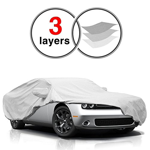 KAKIT Challenger Cover for Dodge Challenger 2008-2017, 3 Layers All Weather Waterproof, Windproof, Dustproof, Scratch Proof, Car Cover for Dodge Challenger, Free Windproof Ribbon