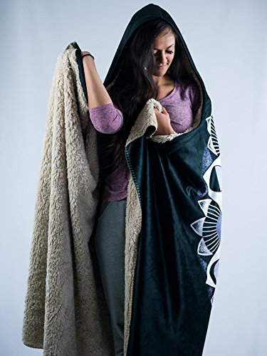 Moon Beams Premium Sherpa Hooded Blanket - Electro Threads by Electro Threads (Image #3)