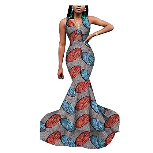 African Dresses for Women Mermaid Gown Wedding Cocktail Party Formal Wax Print 231 XL ()