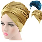 Turban Hat Headband Head Wrap - Gold Teal 2 Packs Magic Velvet Turbans HeadWrap Bow Twist Chemo Cap Tube Scarf Tie Hijab For Hair Muslim bohemian boho Black African Women (01)
