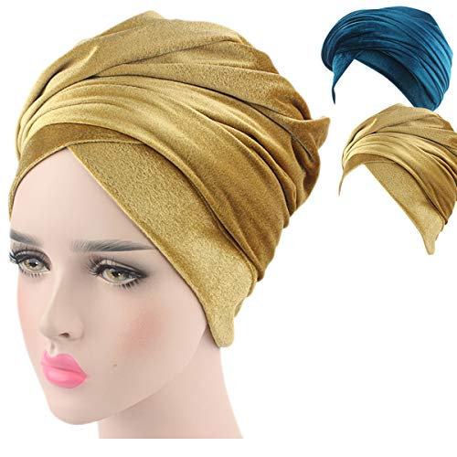 - Turban Hat Headband Head Wrap - Gold Teal 2 Packs Magic Velvet Turbans HeadWrap Bow Twist Chemo Cap Tube Scarf Tie Hijab For Hair Muslim bohemian boho Black African Women (01)