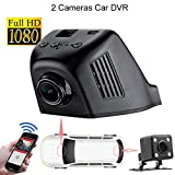 Wifi Hidden Video Car Recorder Rear View Mirror with Back Camera HD 1080P 170 Degree Wide Angle Vehicle Dash Cam G-sensor