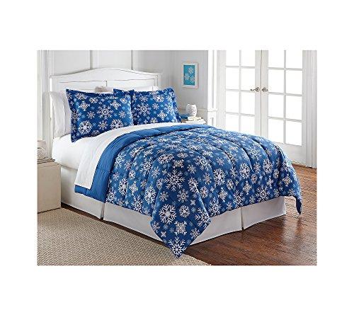 LivingQuarters Reversible Microfiber Down-Alternative Blue Snowflake Comforter Full/Queen Comforter
