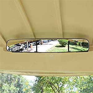 """World 9.99 Mall Rear View Mirror, 16.5"""" Extra Wide 180 degree Panoramic Generic of E-Z-GO YAMAHA Rear View Mirror Black Mirror (Black)"""