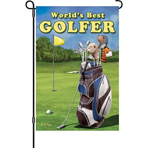 Premier Kites 51861 Garden Brilliance Flag, World's Best Golfer, 12 by 18-Inch ()