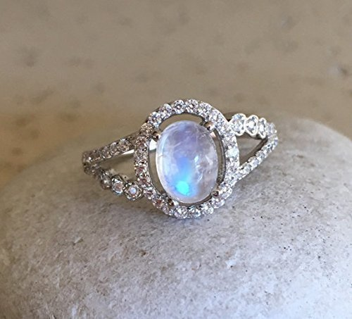 Halo Moonstone Engagement Ring- Split Band Engagement Ring- Oval ...