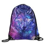 ZYHZYH Unisex Drawstring Backpack,Galaxy Wolf Travel Bag Storage Bag,for Gym/Sports/Hiking/Climbing