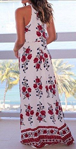 Rosso Vestito Sexy Maniche Jaycargogo Halter Donne Cocktail Fiore Boemia Da Stampa Della Cinghia Della OTwq0RqI5n