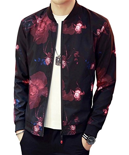 Men's Casual Slim Fit Baseball Bomber Jacket Coat Outwear With Spider Printed